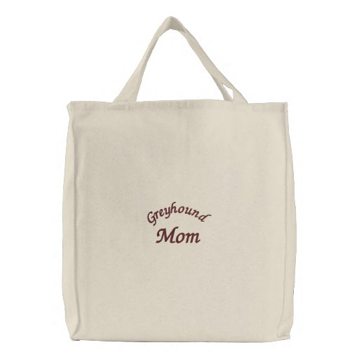 Greyhound Mom Embroidered Tote Bag