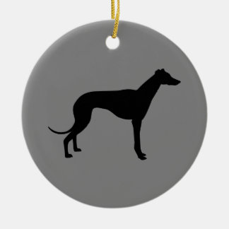 Greyhound on Gray Ceramic Ornament