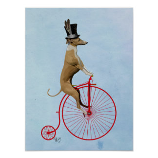 Greyhound on Red Penny Farthing Bike Poster