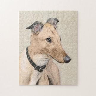 Greyhound Painting - Cute Original Dog Art Jigsaw Puzzle