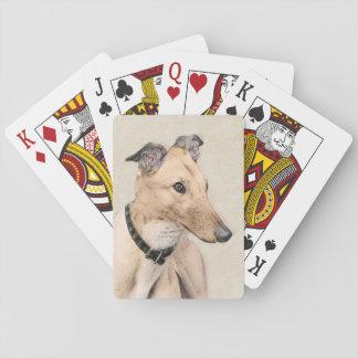 Greyhound Painting - Cute Original Dog Art Playing Cards