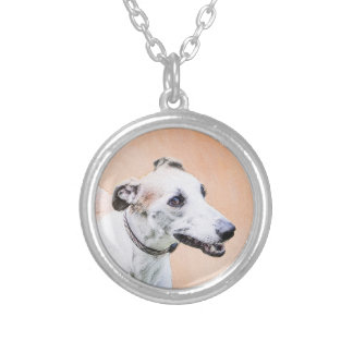 Greyhound Painting - Cute Original Dog Art Silver Plated Necklace
