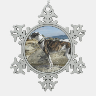 Greyhound Pewter Snowflake Decoration