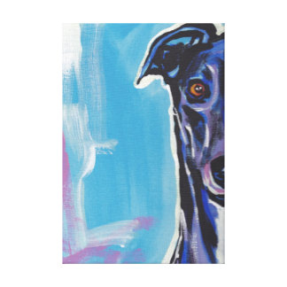 Greyhound Pop Dog Art on Wrapped Canvas Stretched Canvas Print