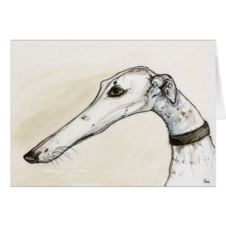 Greyhound Portrait Illustration Card