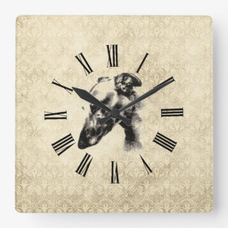 Greyhound Portrait on Elegant Ivory Damask Wallclock