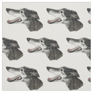 Greyhound Profile Dog Art Fabric