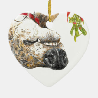 Greyhound roaching under the mistletoe ceramic heart decoration