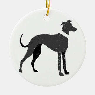 Greyhound Round Ceramic Decoration