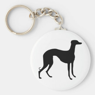 Greyhound Silhouette Basic Round Button Key Ring