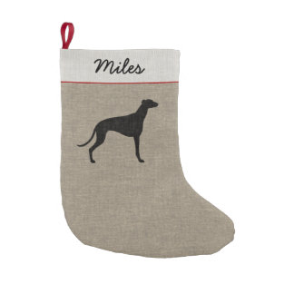 Greyhound Silhouette with Custom Text Small Christmas Stocking