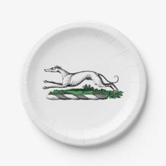 Greyhound Whippet Running Heraldic Crest Emblem 7 Inch Paper Plate