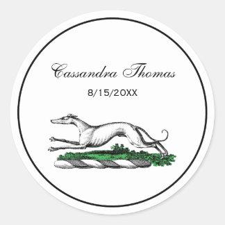 Greyhound Whippet Running Heraldic Crest Emblem Classic Round Sticker