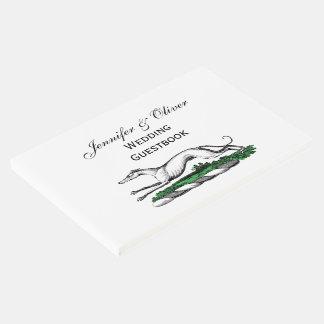 Greyhound Whippet Running Heraldic Crest Emblem Guest Book