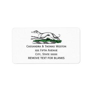 Greyhound Whippet Running Heraldic Crest Emblem Label