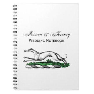 Greyhound Whippet Running Heraldic Crest Emblem Notebook