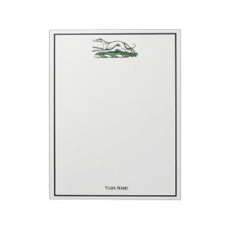 Greyhound Whippet Running Heraldic Crest Emblem Notepad