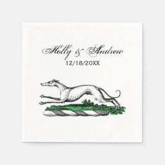 Greyhound Whippet Running Heraldic Crest Emblem Paper Napkin