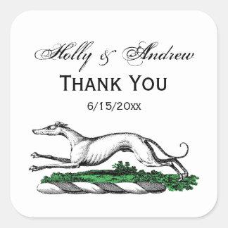Greyhound Whippet Running Heraldic Crest Emblem Square Sticker