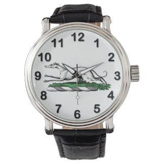 Greyhound Whippet Running Heraldic Crest Emblem Watch
