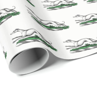 Greyhound Whippet Running Heraldic Crest Emblem Wrapping Paper