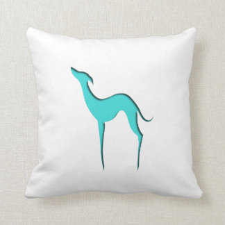 Greyhound/Whippet turquoise silhouette EDrawings38 Throw Pillow