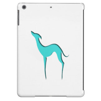 Greyhound/Whippet turquoise silhouette iPad case
