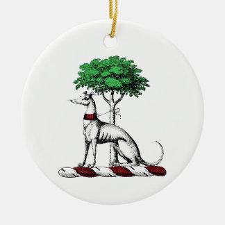 Greyhound Whippet With Tree Heraldic Crest Emblem Ceramic Ornament