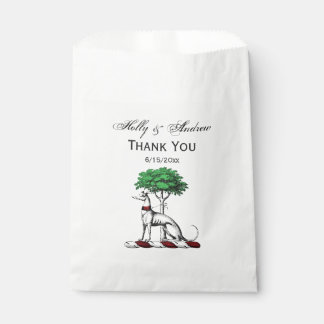 Greyhound Whippet With Tree Heraldic Crest Emblem Favour Bag