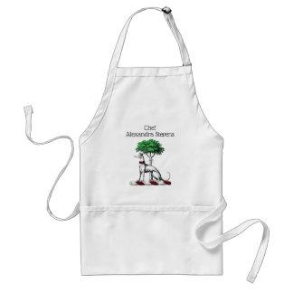 Greyhound Whippet With Tree Heraldic Crest Emblem Standard Apron