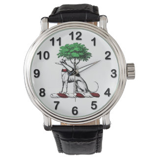 Greyhound Whippet With Tree Heraldic Crest Emblem Watch