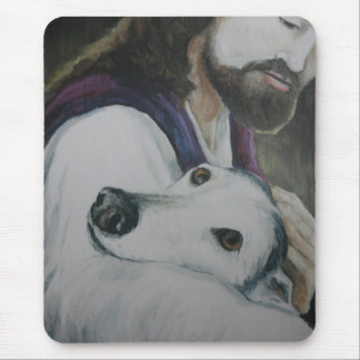 Greyhound with Jesus Dog Art Mouse Pad