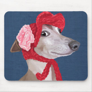 Greyhound with Red Woolly Hat Mouse Pad