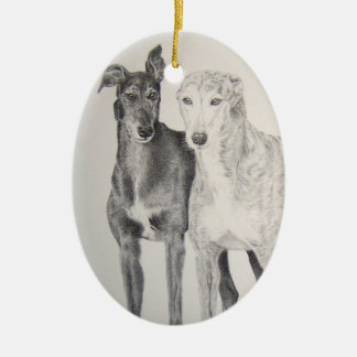 Greyhounds Ceramic Ornament