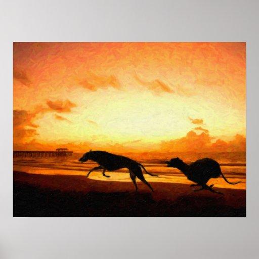 Greyhounds on Beach Print