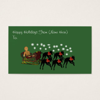 Greyhounds Sleigh Christmas Holiday Gift Card Tag