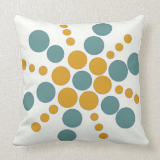 Greyish blue yellow ochre dotted stamped star throw cushion