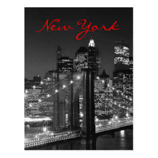 Greyscale Red New York Script Post Card