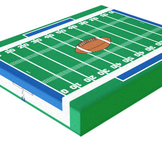 grid iron football field graphic stretched canvas print