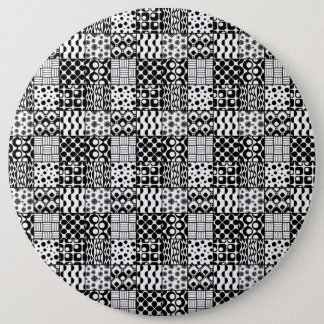 Grid of Black-and-White Geometric Patterns, 01 6 Cm Round Badge