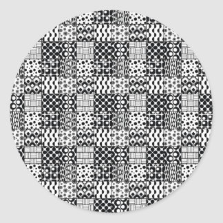 Grid of Black-and-White Geometric Patterns, 01 Classic Round Sticker