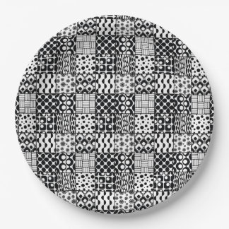 Grid of Black-and-White Geometric Patterns, 01 Paper Plate