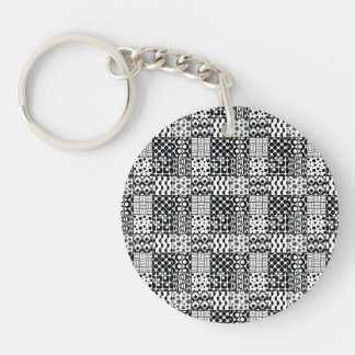 Grid of Black-and-White Geometric Patterns, 01 Single-Sided Round Acrylic Key Ring