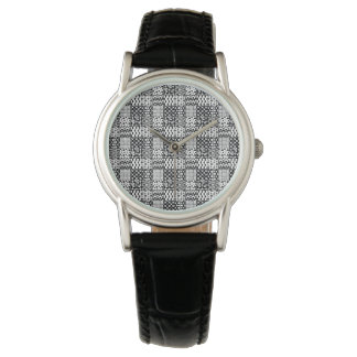 Grid of Black-and-White Geometric Patterns, 01 Watch
