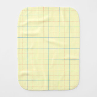 grid pattern blue line red dots burp cloth