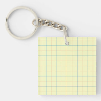 grid pattern blue line red dots Single-Sided square acrylic key ring