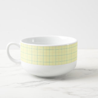 grid pattern blue line red dots soup bowl with handle