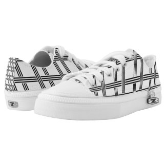 Grid Pattern Zipz Low Top Shoes