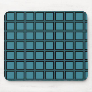 Grid Teal and Black Mouse Pad