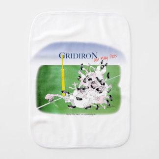 Gridiron -'hail mary pass', tony fernandes burp cloth